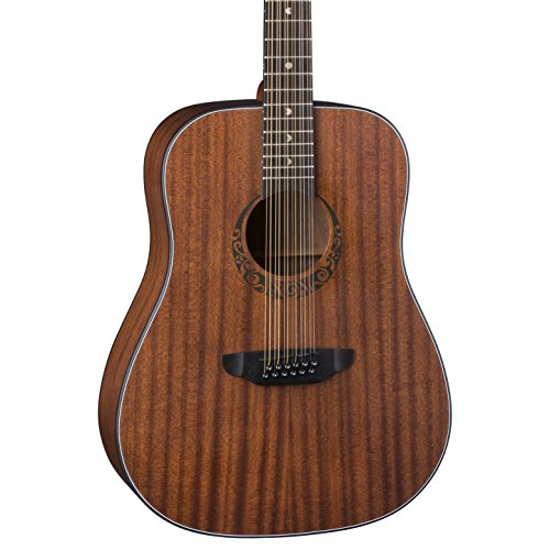 Luna Gypsy Dreadnought 12-String Mahogany Acoustic Guitar, Satin Natural ()
