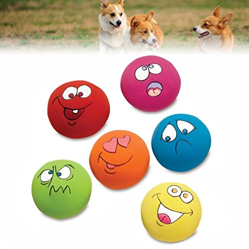 Dog Chewing Wall - Kacowpper Funny Chewing Toy, Beautiful and Comfortable Pet Supplies 6Pcs/Set Funny Interactive Squeaky Ball Face Fetch Play Toy Dog Pet Puppy-Random Color