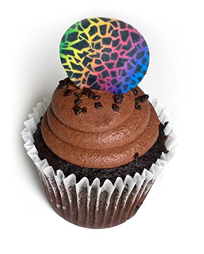 Giraffe Rainbow Animal Print 1.5 Inch Wafer Paper Toppers for Decorating Desserts Cupcake Pack of 24 by Deco Machine Toppers