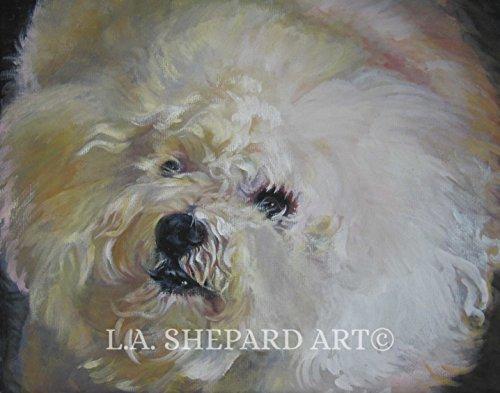 A Bichon Frise dog art portrait print of an LA Shepard painting 11x14