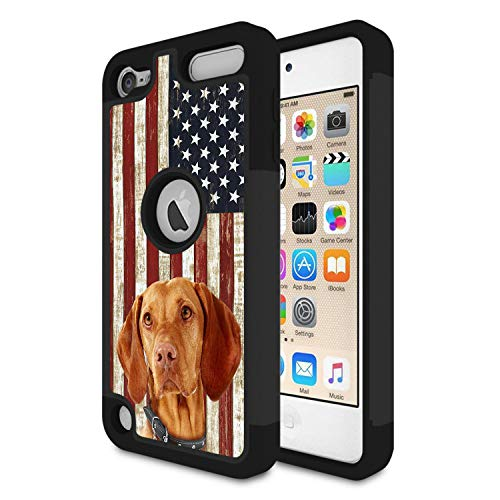 (iPod Touch 6 Case, iPod Touch 5 Case, Rossy Heavy Duty Hybrid TPU Plastic Dual Layer Armor Defender Protection Case Cover for Apple iPod Touch 5/6th Generation,Vizsla Dog with American Flag)