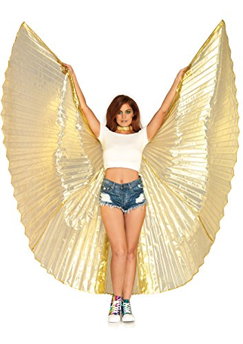 Leg Avenue Women's 360 Degree Pleated Halter Isis Wings with Support Sticks, Gold, One Sizes Fit Most