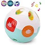 LotFancy Baby Rolling Crawling Moving Learning Ball, with Animals Sounds, Music and Light - Crawl Rattle Toy for Infant Toddler Kids, Battery Included
