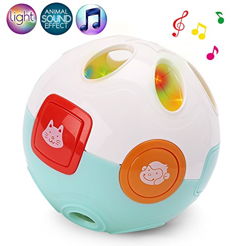 LotFancy Baby Rolling Crawling Moving Learning Ball, with Animals Sounds, Music and Light - Crawl Rattle Toy for Infant Toddler Kids, Battery Included by LotFancy