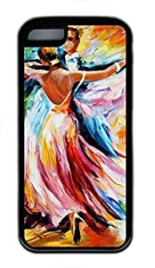 Soft Black TPU Case Back Cover for iPhone 5C with Dancing Art Painting Printed
