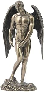 Bronzed Finish Nude Male Angel Statue Sculpture