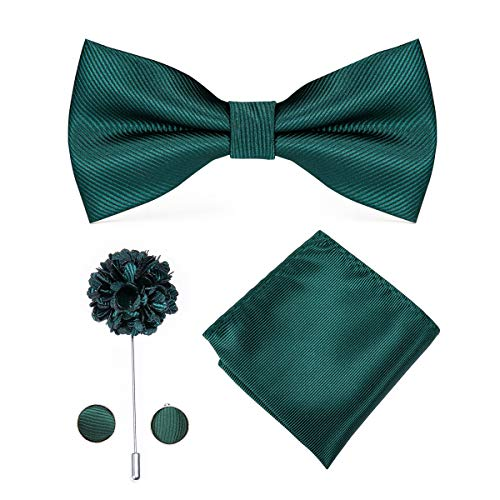 Dubulle Silk Green Bow Tie for Men with Lapel Pin Handkerchief Cufflinks Set