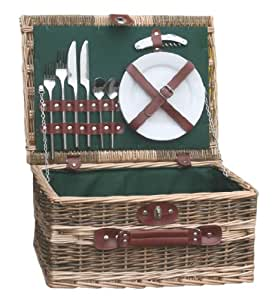 Green Country Style 2 Person Wicker Picnic Basket Hamper with Removable Chiller Bag - Luxury Birthday Gifts for Men Women Her Him Mum Dad
