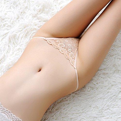 Ladies Lace Panties Thong G-string Mujeres Underwear Briefs lencer¨ªa baja de la cintura color de piel