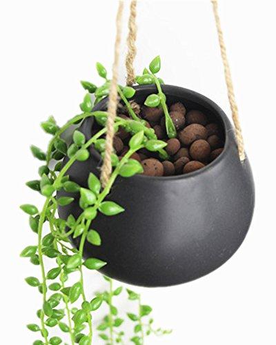 Moyishi Mini Decorative Ceramic Hanging Planter Flower Pot Water Planter Plant Vase (Black) (Hanging Basket Flower Pots compare prices)