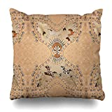 Darkchocl Daily Decoration Throw Pillow Covers Southwest Western Tribal Leather Square Pillowcase Cushion for Couch Sofa or Bed Modern Quality Design Cotton and Polyester 20' x 20'