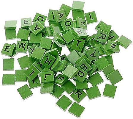 ATEZIEU 100Pcs/set Colorful English Words Wooden Letters Alphabet Tiles Black Scrabble Letters & Numbers (Green): Amazon.es: Hogar