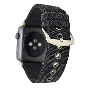 NewSilkRoad for Apple Watch Band 38mm,Canvas Cotton Woven Bracelet Wrist Strap with Metal Clasp Adapter for iWatch Series 1 Series 2 Series 3 Sport Edition (Black)
