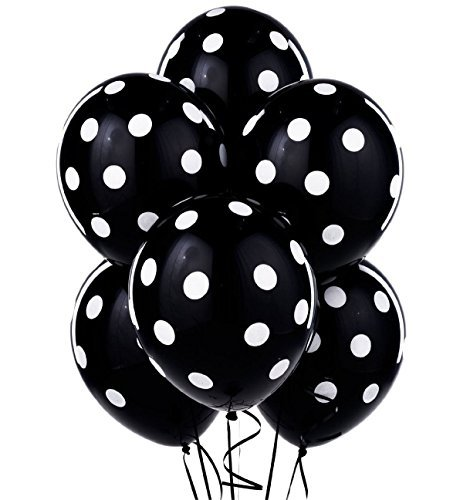 Big Polka Dots Balloons - 11-Inch Black with White Dots