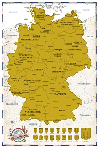 Map Of The World Germany.Germany 61x91 5 Cm Poster World Scratch Map Scratch Map 1 1