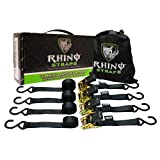 RHINO USA Ratchet Tie Down Straps (4PK) - 1,823lb Guaranteed Max Break Strength, Includes (4) Premium 1'' x 15' Rachet Tie Downs with Padded Handles. Best for Moving, Securing Motorcycle and Cargo