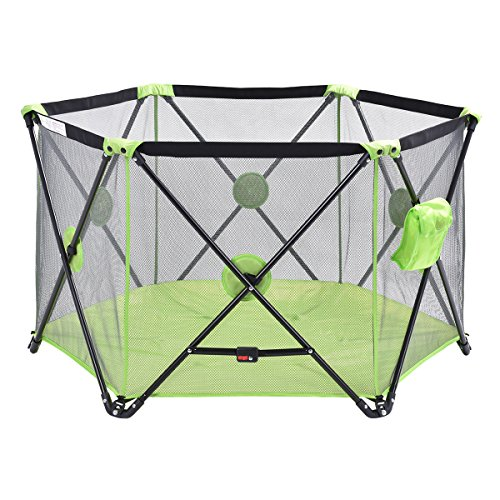 Green Baby Play Pen Playard Portable Folding Outdoor Indoor Safety Free Standing by Happybeamy