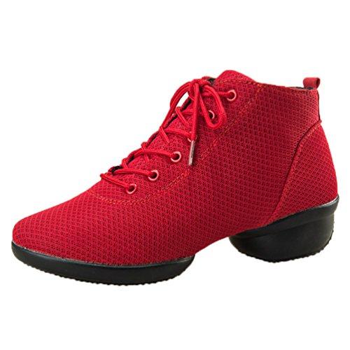 Chaussures Souples Mesh Respirant Rouge Danse Semelles De Femme EawO6qE