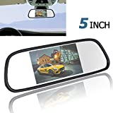 PONPY 5'' TFT Color LCD Screen 2 Video Input Car Rear View Mirror Monitor Vehicle Parking In-mirror Monitor for DVD/VCR/Car Reverse Camera