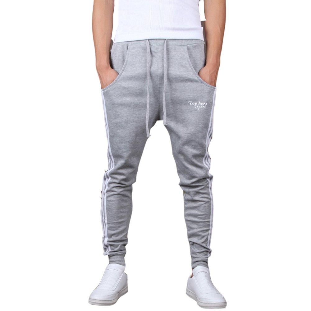 Mooncolour Men's Casual Slim Fit Jogging Harem Pants (Gray  M) Gray Medium by Mooncolour