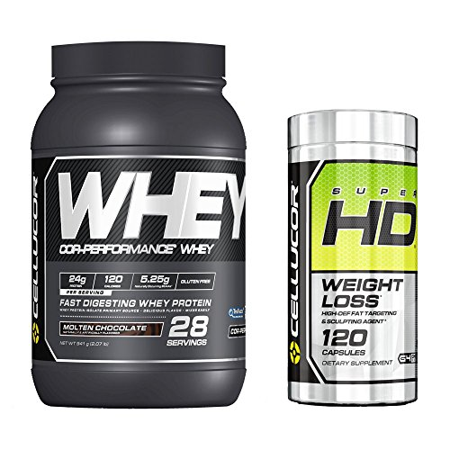 Cellucor SuperHD Thermogenic Fat Burner Weight Loss Supplement for Men & Women, 60 Capsules + Cor-Performance Whey Protein, Molten Chocolate, 2lbs by Cellucor