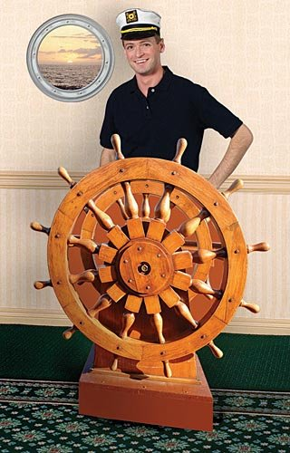 Nautical Sailor Captain's Wheel Standup Photo Booth Prop Background Backdrop Party Decoration Decor Scene Setter Cardboard Cutout]()