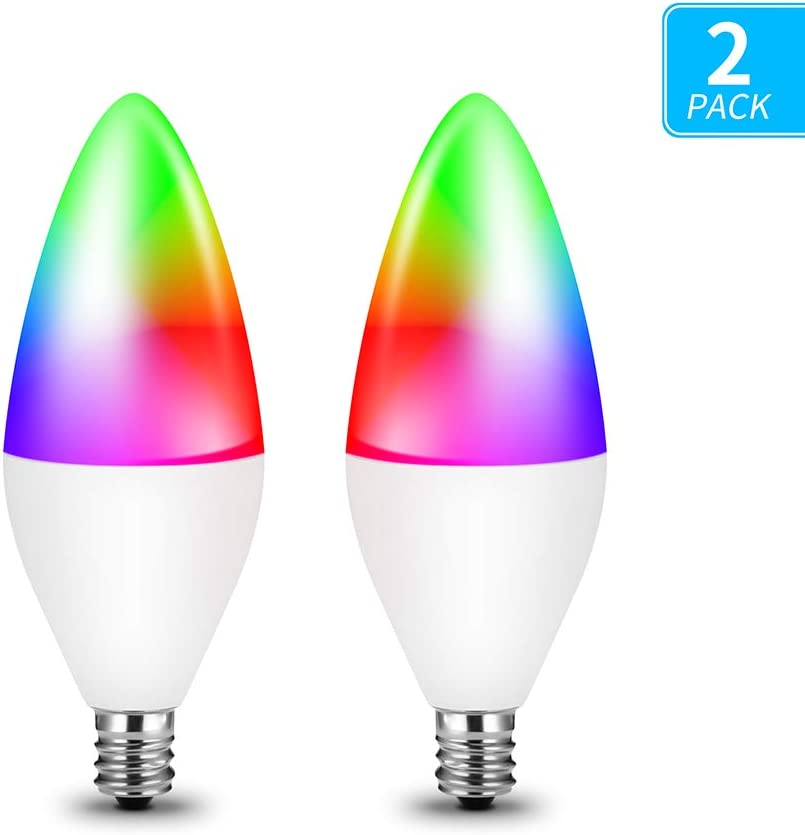 Luntak Smart Light Bulbs E12 Base LED Candelabra Bulbs,Color Changing and Dimmable Smart Light Bulb, Compatible with Alexa Google Home, Timing by Remote Control, 320 lm 35w Equivalent, 2 Pack