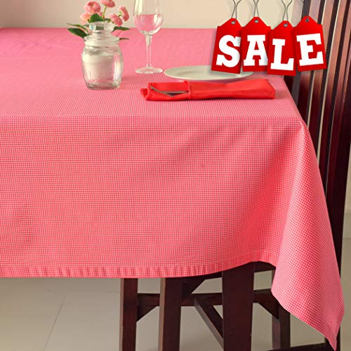 Poly-Cotton Linen Square Red Tablecloth - Stain Resistant French Rectangular & Square Kitchen Table Cloth - Dinner Table Christmas New Year Eve Easter Dinner Gift (RED Checkered, Square -