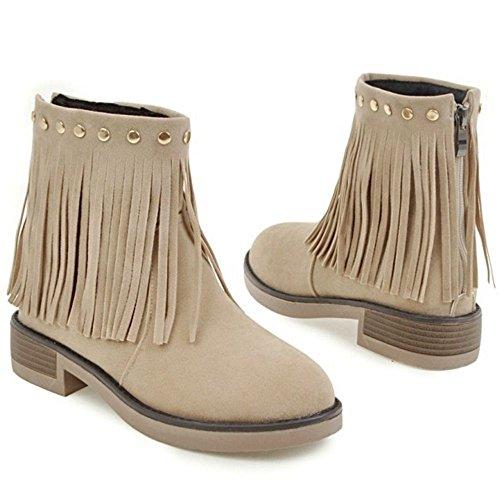 RAZAMAZA Women Classic Boots Zipper Beige 7W0LDqxp4m