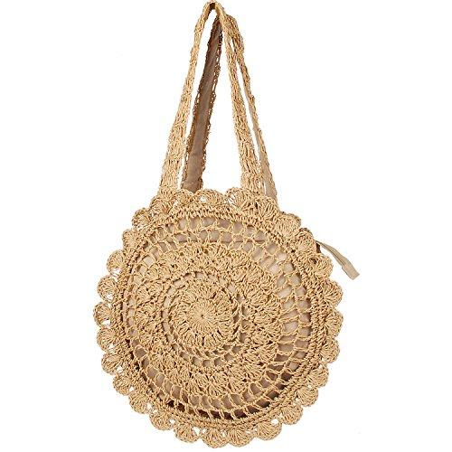 Handmade Straw Tote Summer Beach Bag Shoulder Woven Handbag for Women and ()