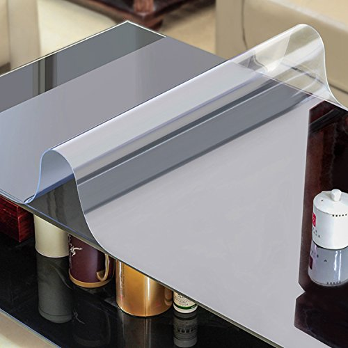 AiXiAng Custom 1.5mm Waterproof Clear PVC Table Cover Protector Rectangle 24 x 48 inches Plastic Tablecloth Dining Table, Desk,Lab Bench,Marble Top Table Pads Table Covers Table Mat Protector