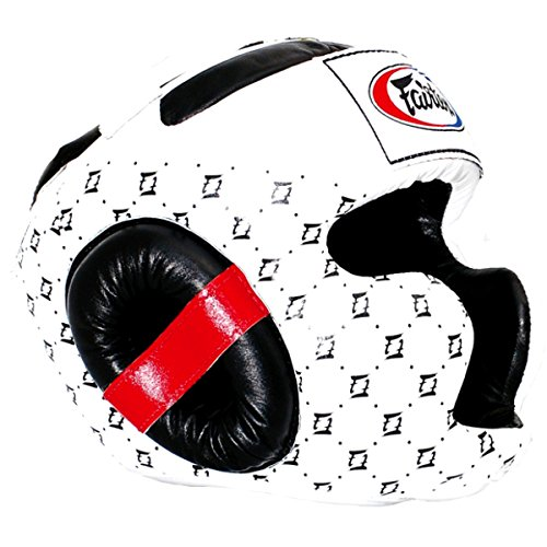 Fairtex Headguard HG-10 HeadGear Helmet Boxing Head Guard Thai Boxing K-1 MMA Head Gear Guard Protective Muay Thai (White, Medium)