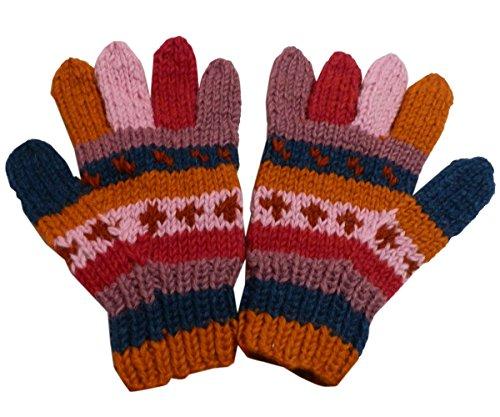 【ノーブランド品】 アジアン衣料 男女兼用 ネパール手編みウール手袋 NGL-29
