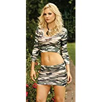^^DISCONTINUED BY VENDOR Long Sleeve Cami Top & Mini Skirt Camouflage O/S