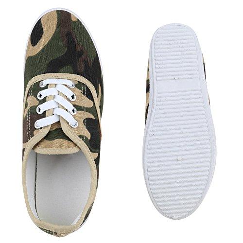 Stiefelparadies Damen Herren Unisex Sneaker Low Basic Flandell Camouflage Creme