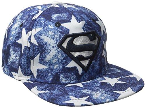 Superman Men's Sublimated Stars Flatbrim Baseball Cap, Royal, One (Superman Hats)