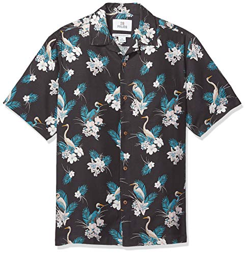 28 Palms Men's Relaxed-Fit 100% Silk Tropical Hawaiian Shirt, Crane Floral Palm Leaf, Large - Floral Silk Shirt