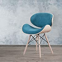 Corvus Madonna Mid-century Turquoise Upholstered Walnut Finished Living Room Accent Chair