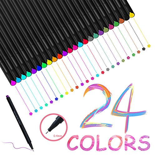 24 Colored Pens, WeGuard 0.4mm Fineliner Writing Drawing Pen Fine Point Maker for Bullet Journal Sketch Book Notebook - Best Back to School and Office Gift