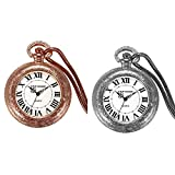 JewelryWe 2PCS Electric Coil Lighter USB Rechargeable Windproof Flameless Cigarette Lighter Pocket Watches