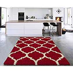 Sweethome Stores COZY3330-5X7 Shaggy Rug, 5'X7', Red White Trellis