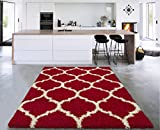 5 feet by 7 feet rug - Sweethome Stores COZY3330-5X7 Shaggy Rug, 5'X7', Red White Trellis