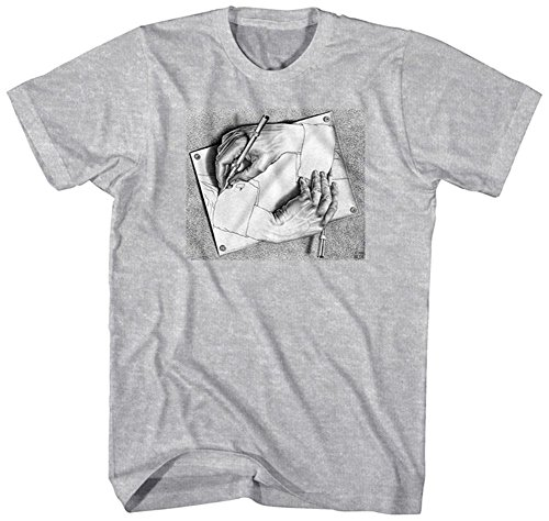 M.C. Escher Men's Drawing Hands Graphic T-Shirt, Sports Grey, (Escher Drawing)