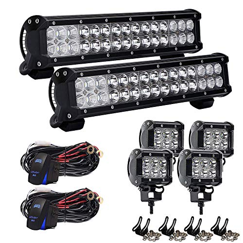 4XBEAM 2PCS 14inch 90w Led Light Bar Spot Flood Combo Beam Off-road Light bar with 4Inch Led Work Light&3 lead Wirng Harness Kit For Jeep Tractor Boat Off-Road SUV ATV Truck.