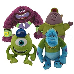 Monsters University 4 Piece Plush Set – Includes – Sulley, Mike, Squishy, and Art – Approx. 7 Inches Tall