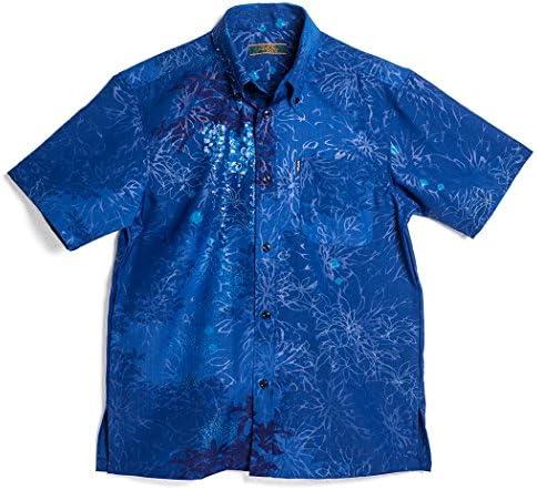 かりゆしウェア 沖縄版 アロハシャツ MAJUN マジュン かりゆし 結婚式 Mens 半袖シャツ ボタンダウン サガリ花螺鈿