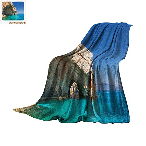 Greece Custom Design Cozy Flannel Blanket Sea Cave for sale  Delivered anywhere in USA