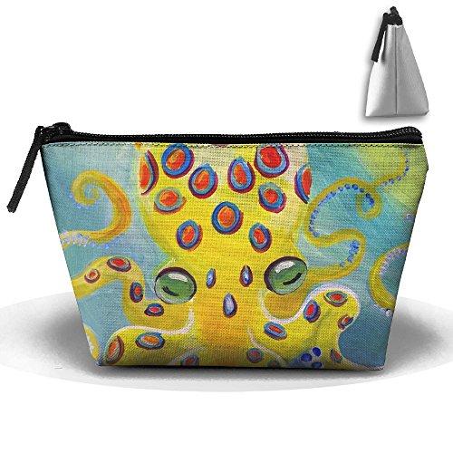 Travel Cosmetic Bags Yellow Skin Octopus Small Makeup Bag Multifunction Pouch Cosmetic Handbag Toiletries Organizer Bag for Women Girl ()