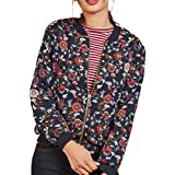 Hot ! Women Blouse , Ninasill Exclusive Casual Print Zipper Vintage Blazer Jacket Coat Outwear Blouse (L, Navy)