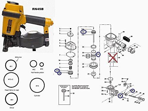 itch RN45-B Coil Roofing Nailer O-ring Kit RN45B (Nailer O-ring Kit)